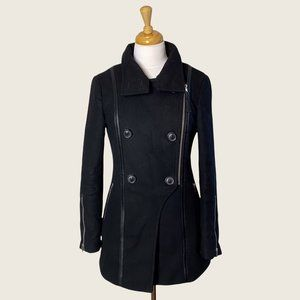 Mackage Black Wool Double Breasted Moto Style Zip Coat with Leather Trim